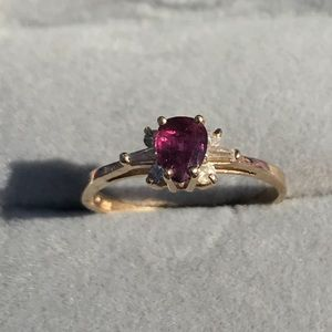 Natural Ruby with diamonds 14k solid gold
